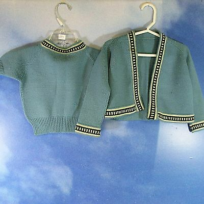 CV-Vintage 50s 60s childs doll baby girls wool sweater set sz 3-4