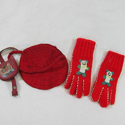 FF- Lot of vintage doll baby childs knit gloves crochet purse + leather cat purs