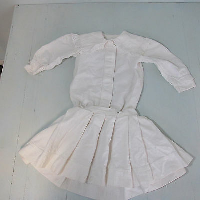 AS-Vintage Edwardian white drop waist 2 pc dress eyelet trim sz 4 ish