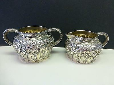 Antique Tiffany & Co Stetling Silver Cream Pitcher & Sugar Bowl Floral Reposse