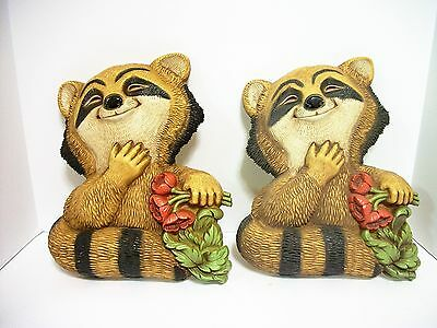 2 Vtg Dart Industries Raccoon Wall Plaques Poppies MCM 1977 Country Cabin Decor