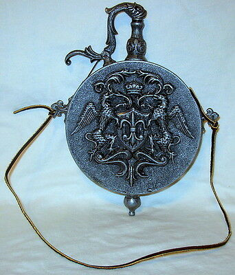 Very Rare Antique Pewter Zinn Black Powder Gunpowder Flask
