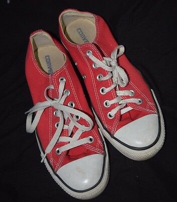 Red low top Converse brand shoes Mens-7, Womens-9