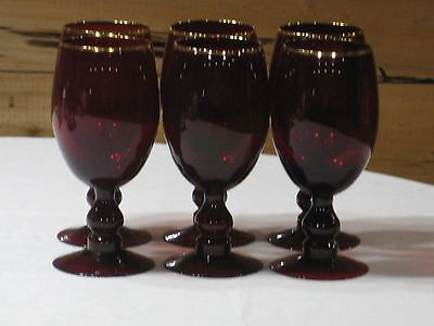 Vintage Ruby Red Set of 6 Ice Tea  Goblets with Gold Trim 16 Oz.