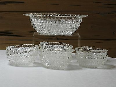 Vintage Clear Glass Diamond Point Salad/Serving Bowl w/ 7 Individual Bowls MINT