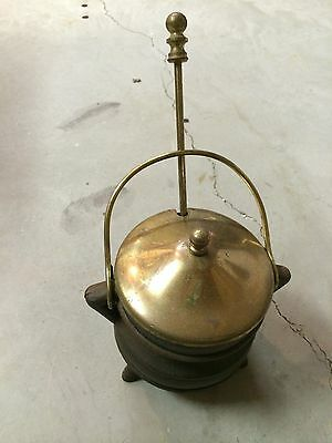 Antique Cast Iron Smudge Pot Fire Starter Kettle Brass Wand Handle & Lid