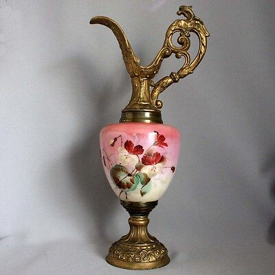 "Antique Victorian Porcelain/ Metal 14 1/2"" EWER PITCHER URN Hand Painted Flowers"