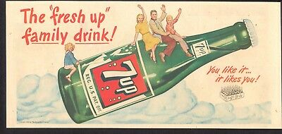 """1948 - 7UP - Newspaper comic ad - The """"FRESH UP"""" Family Drink! - Nabisco ad"""