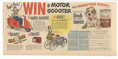 1948 - DASH ARMOUR DOG FOOD - newspaper comic ad WIN A MOTOR SCOOTER - Gillette
