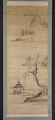 JAPANESE HANGING SCROLL ART Painting Scenery  Asian antique  #E4958
