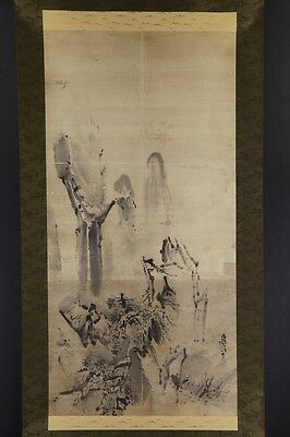 JAPANESE HANGING SCROLL ART Painting  Asian antique  #E4951