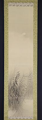 """JAPANESE HANGING SCROLL ART Painting Scenery """"Moon"""" Asian antique  #E4956"""