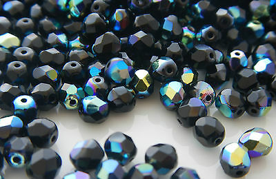 600 PCS-WHOLESALE 10mm CZECH GLASS FIRE POLISHED BEADS for Jewelry-JET AB