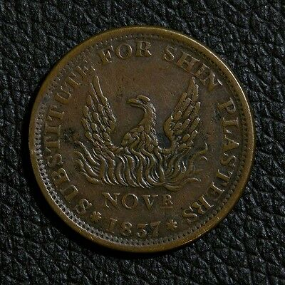 1837 US Hard Times Token Substitute for Shin Plasters May Tenth