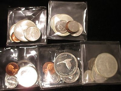 5 1967 Canadian Mint 6-Coin Sets 1c-$1