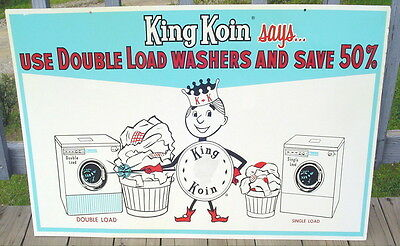 "Vintage 1940'S Large King Koin Washing Machines Double-Sided Tin Sign 40"" Exc!"