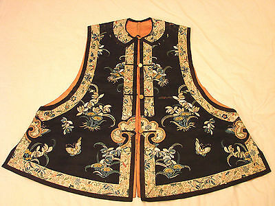 Chinese Embroidered Vest with Butterflies + Flowers Antique Unknown Provenance