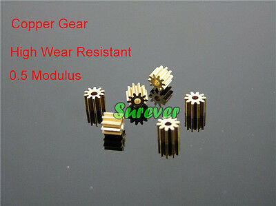 2mm Shaft Motor Gear Metal Gear spindle Copper gear 10 teeth 2mm id 0.5 Modulus