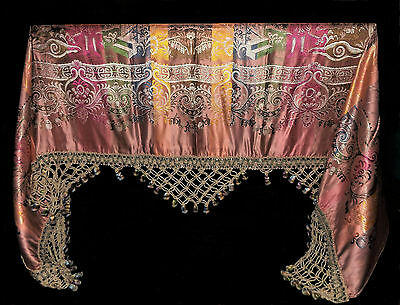 EXQUISITE ANTIQUE Chinese Scene Vtg Large Bedspread SILK GRAND PIANO SCARF SHAWL