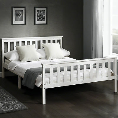 Double wooden bed frame in White