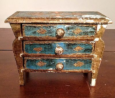 Italian Florentine Gilt Wood & Blue 3 drawer Bombay Chest