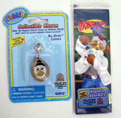 Webkinz Collectible Ms BIRDY CAMEO CHARM & Bookmark Unused Codes/ Sealed FreeShp
