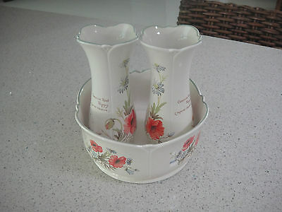 "Vintage Royal Winton Staffs. Pottery Set 2 Vases & 1 Bowl ""country Poppies"""