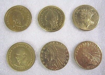 Lot of 6 1795-1913 liberty Indian 24k Gold Plated Tribute Coins (COPY)