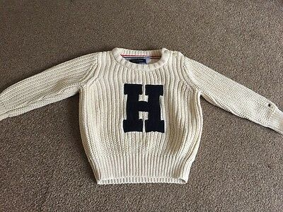 Baby Boys Knitted Tommy Hilfiger Jumper Cream With Blue H 9-12 Months 6-12