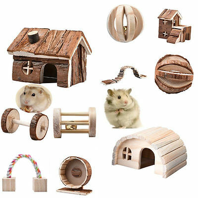 Hamster Rat Hedgehog Natural Wooden Toys House Dumbell Cage Exercise Toys Wheels