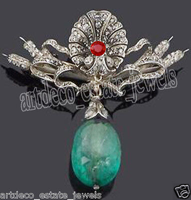 3.10cts ROSE CUT ROUND DIAMOND EMERALD & RUBY .925 STERLING SILVER BROOCH PIN