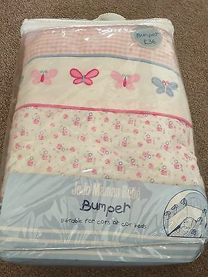 Jojo Maman Bebe Girls Cot Cotbed Bumper Pink With Butterflies Gorgeous