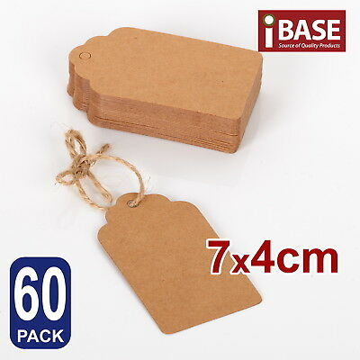 60x BROWN KRAFT PAPER TAGS WEDDING STRING TWINES GIFT FREE TWINE 7x4 CM DIY