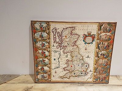 Vintage Anglo Saxon Style Canvas Map of Britain oak framed