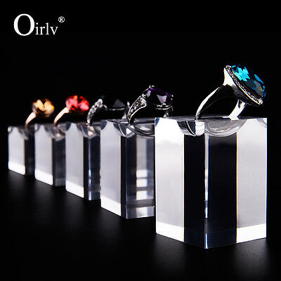 Oirlv Ring Holder with Notches Jewellery Display Stands Clear Acrylic Set of 5