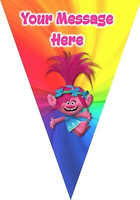 3m Personalised 10 x Flag birthday bunting party decoration The Trolls