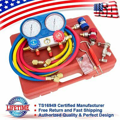 500 PSI HVAC Automotive AC Manifold Gauge Set Refrigeration Kit AC R12 R134A R22