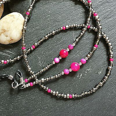 Spectacle Chain Grey & Pink - Glasses Cord - Holder - strap