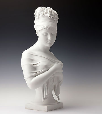 Jean Antoine Houdon large bust Madame Récamier Biscuit china France 1890