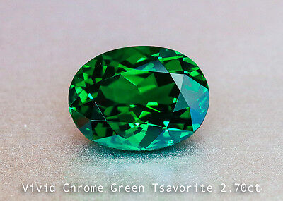 Glinting Vivid Chrome Green Tsavorite 9x7mm Oval 2.70ct - Near Loupe Clean Gem