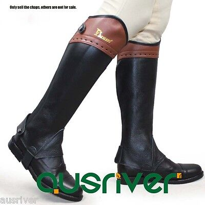 Unisex Horse Riding Chaps Schooling Half Chaps Black Leather Chaps with Elastic