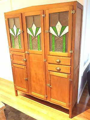 Gorgeous Art Deco Leadlight Kitchen Dresser Pantry