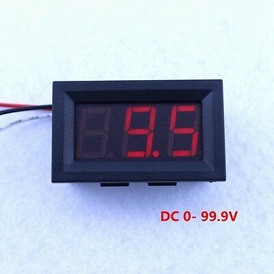 "DC100V Digital Voltmeter Voltage Panel Meter Operating 30V 0.56"" 3 Digit Red LED"