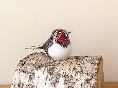 GLASS ROBIN BIRD SCULPTURE Ornament Paperweight Figurine Wildlife Country Gift