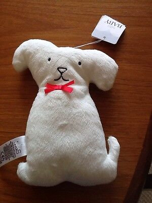 M&S Marks & Spencer White Red Bow Flat Puppy Baby Comforter Soft Toy NEW