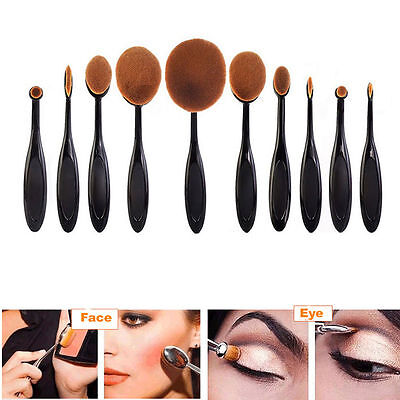 10tlg Profi Foundation Oval Pinsel Brush Make Up Zahnbürste Puderpinsel set gift