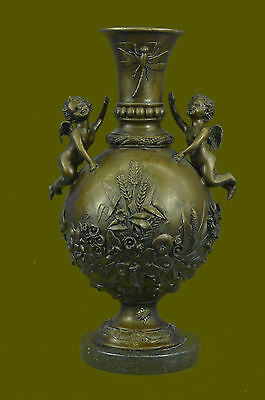 Putti Cherub Angel Cupid Mother's Day Gift Bronze Marble Statue Romantic Nude NR