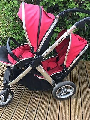 Red Babystyle Oyster Max 2 Tandem Double Pushchair / Pram / Buggy + Accessories