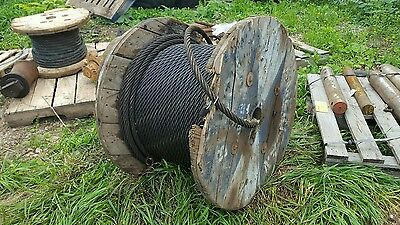 "NOS 200 Ft. x 7/8"" Roll of Heavy Duty Steel Rigging Winch Crane Wire Rope Cable"