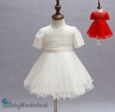 Baby Girls White Red Christening Baptism Gown Birthday Party Lace Dress  0-2Year